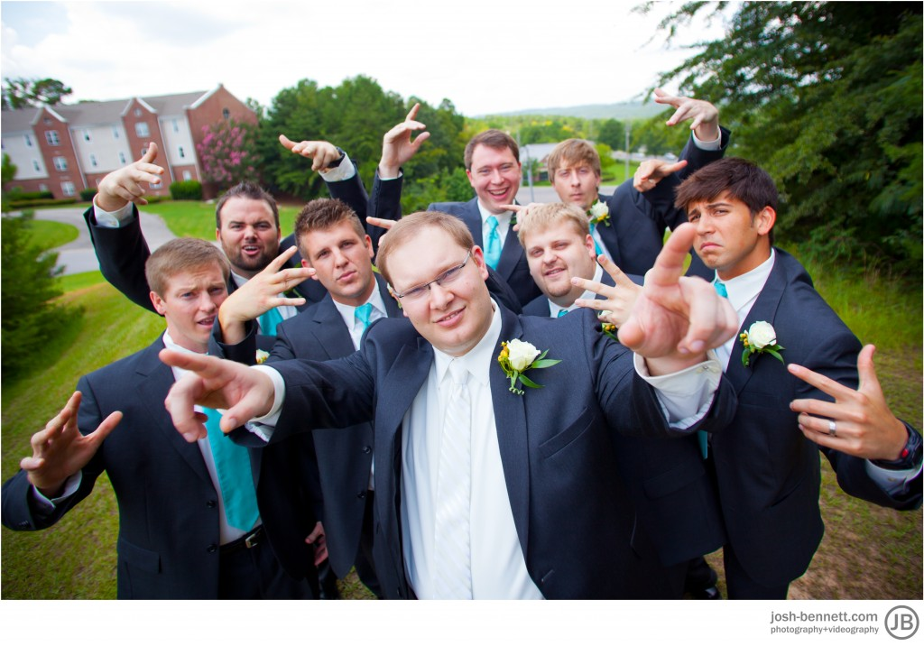 Groomsmen fish eye lens cool wedding photo