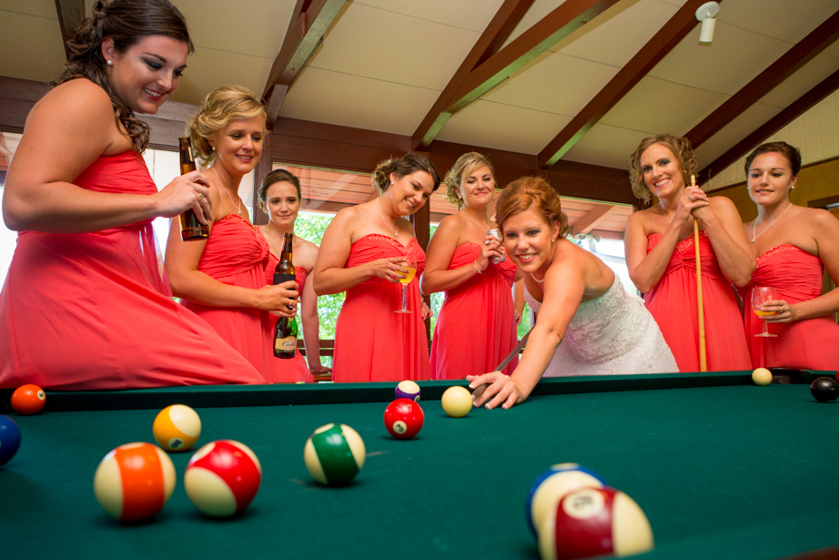 Bridal Party Girls Playing Pool