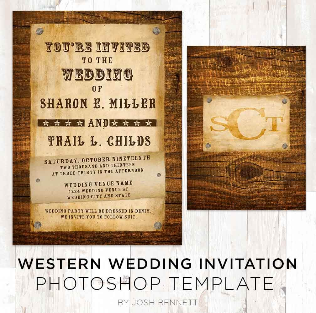 Country Western Wedding Invitation Photoshop Template